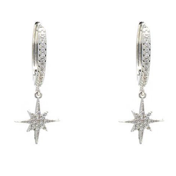 Silver Cubic Zirconia Pave Starburst Dangle Earring