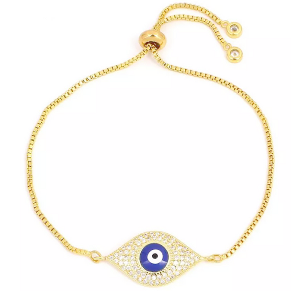 Gold CZ Evil Eye Pull Tie Adjustable Bracelet