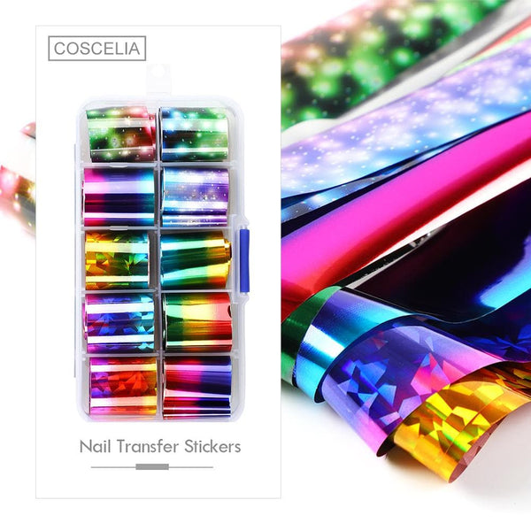 COSCELIA Decoration Kit with Top Coat Primer 7ml Transfer Gel Nail Art Nail Tools Curved Tweezers
