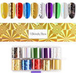 10Pcs/Box Nail Transfer Stickers Nail Foil Holographic Sky Laser
