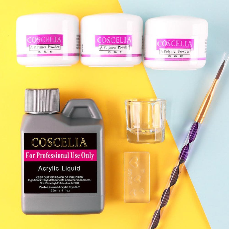 3pc Acrylic Powder Kit with 120ml Acrylic Liquid