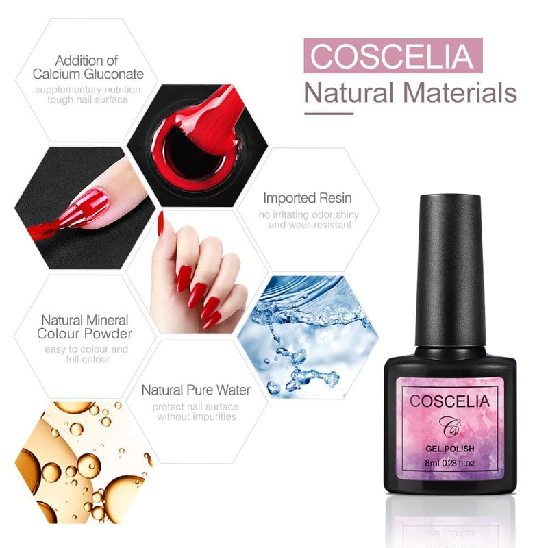 Coscelia Gel Polish starter Kit 10pc 8ml lamp 36w uv/led