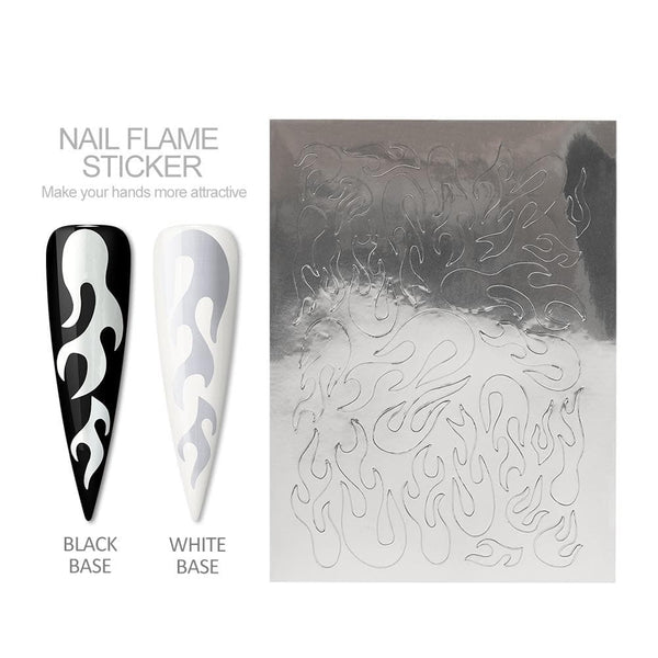 1 sheet Flame Nail Sticker Self Adhesive Holographic Fire Stickers