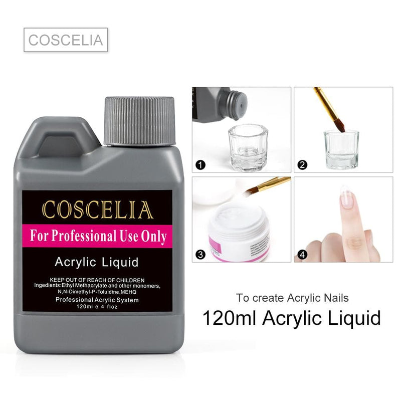 3pc Acrylic Powder Kit with 30/75/120ml Acrylic Liquid