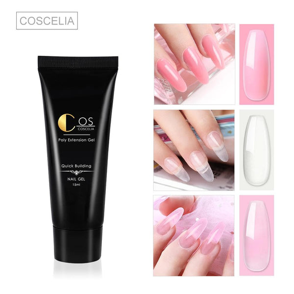 COSCELIA 4/6/7/9Pcs Poly Gel Set 15ml Poly Gel Nail Builder Gel Nail Extension Nail Art Color Change According to Temperature