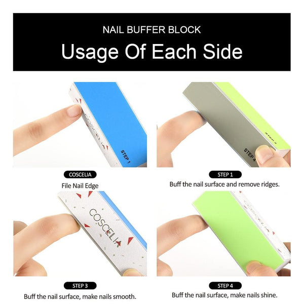 COSCELIA 3-Way Nail Buffer Block Nail Tools Nail Files Grinding