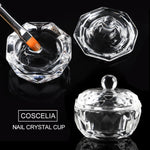 COSCELIA Acrylic Kit 120ml Crystal Liquid 3Pcs Crystal Powder Glass Cup Cover Crystal Nail Pen Set