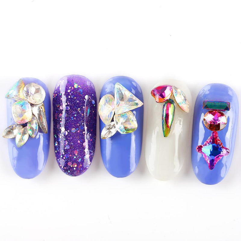Mix color Nail art Rhinestones