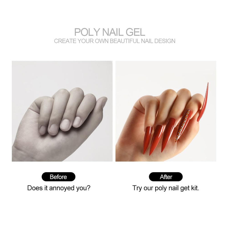 6pc Poly Gel Nail Kit with 36w Lamp