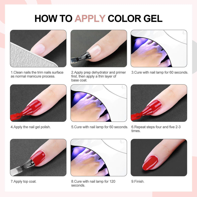 5pc gel polish kit with 36w lamp uv/led