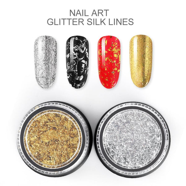 Gold Silver Nail Foil Wire Nail Glitter Strip with eye shadow brush
