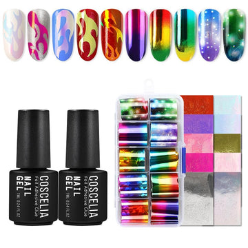 COSCELIA Decorations Kit Nail Art Decorate Your Nails  7ml Transfer Gel Nail Stickers Set