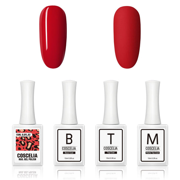 Top & base coat & matte top coat with red gel polish 15ml