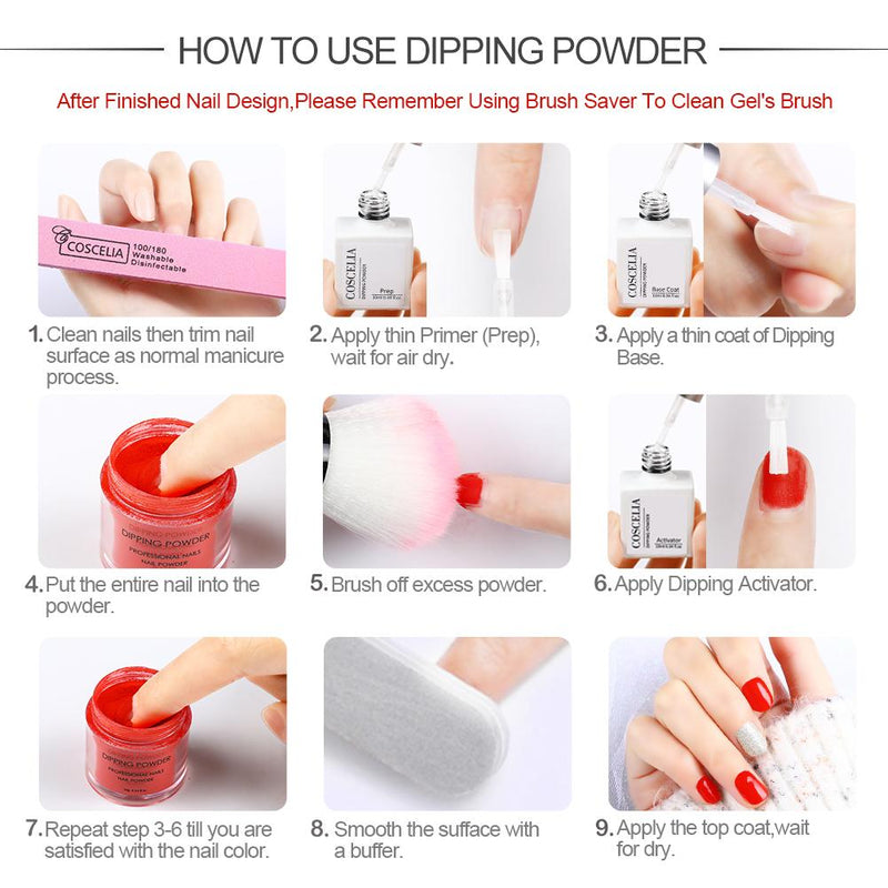 22Pc Dipping Powder Kit activator top base coat