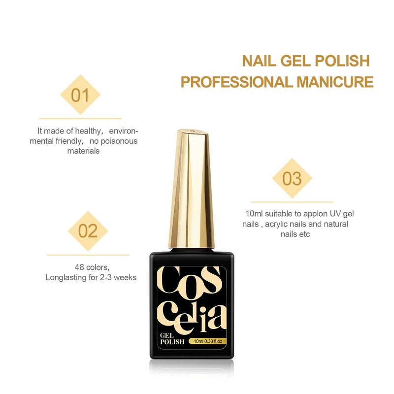 8pc gel polish 10ml set with top & base coat