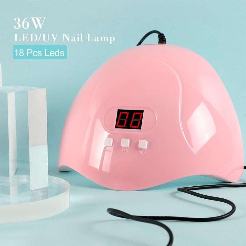 4pc gel polish kit with 36w lamp uv/led