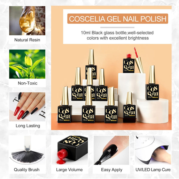 COSCELIA Acrylic Kit 3 Colors 8g Acrylic Powder 12Pcs Colored Acrylic Powder Nail Art Decoration Tool Set