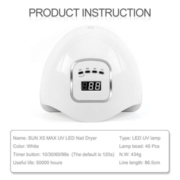 Coscelia 90W UV LED Nail Dryer Lamp Quick Dryer Machine Infrared Sensing LCD Display