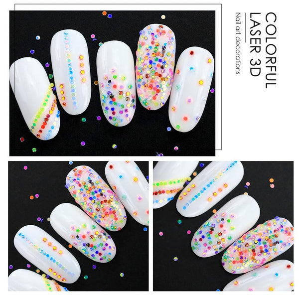 Coscelia 12 Colors Nail art Decoration 3D Laser Holographic Nail Sequins