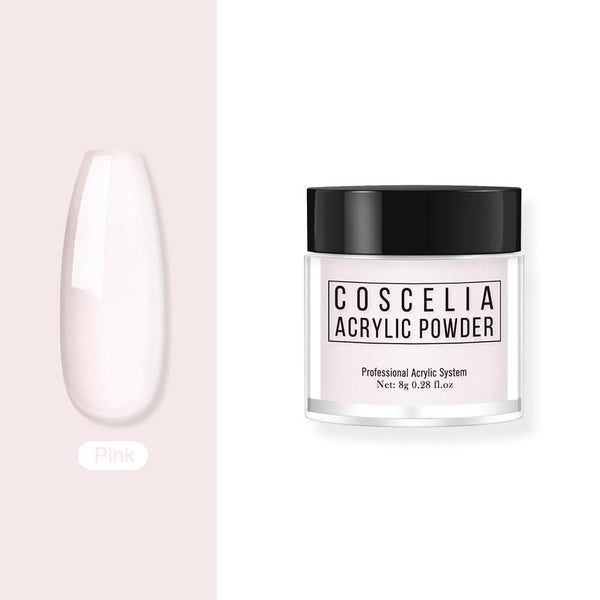 COSCELIA Acrylic Powder Nail Art Tips Clear/Pink/White Acrylic Nail Powder Nail art Decorations