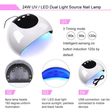 COSCELIA 24W Nail Dryer Lamp for Curing Gels LED UV Timer Lamp Manicure Lamp Nail Art Tools