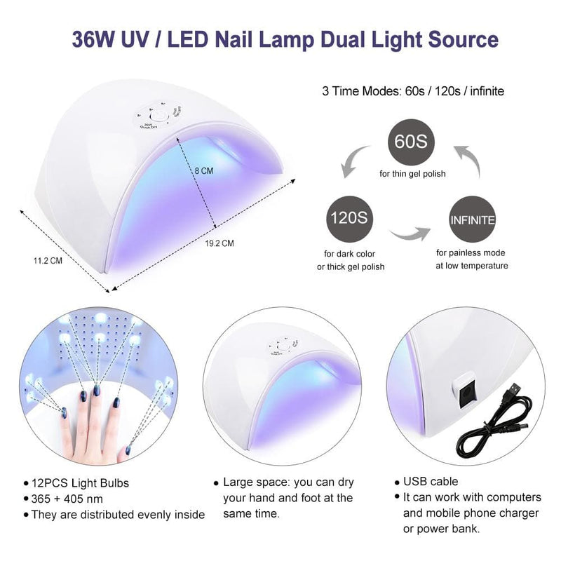 10pc Gel Polish kit with 36w lamp