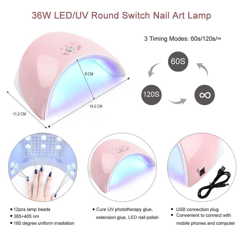 5pc Poly Gel with 36W Nail Lamp eu