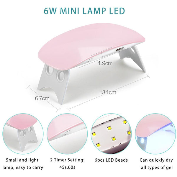 6W Mini Portable UV/LED Nail Lamp USB Cable
