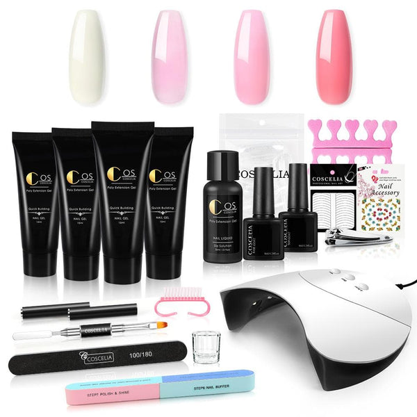 4pc Poly Nail Gel Kit with 36w Lamp