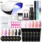 COSCELIA 12Pcs Poly Gel 36W LED Lamp Dryer 6Pcs UV Gel Manicure Tool Set