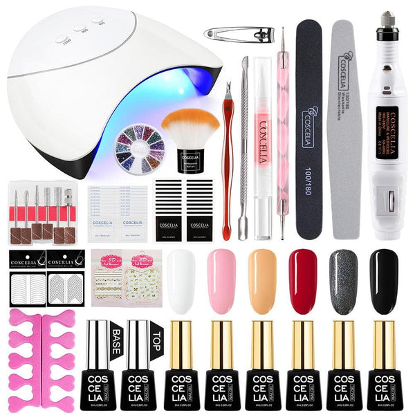 COSCELIA Nail Drill Machine 12Pcs/set Nail Gel Polish 36W Nail Lamp Nail Set Nail Tools