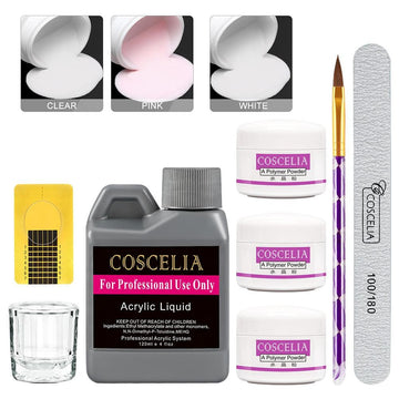 COSCELIA 30/75/120ml Acrylic Liquid 3 Colors Acrylic Powder Glass Cup Accessories Nail Art Tool Set
