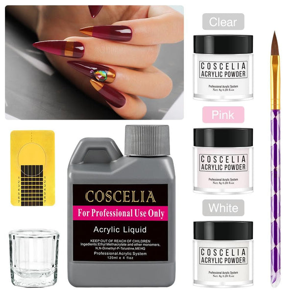 Coscelia 3pc Acrylic powder 8g liquid 120ml set