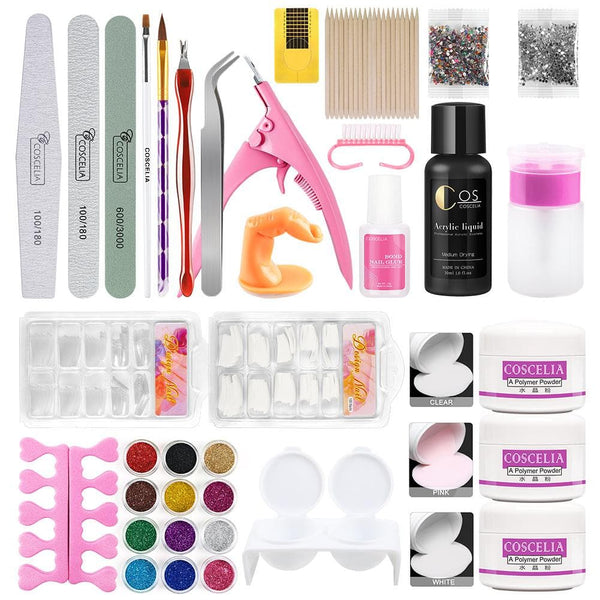 acrylic powder glitter nail kit with 30ml acrylic liquid