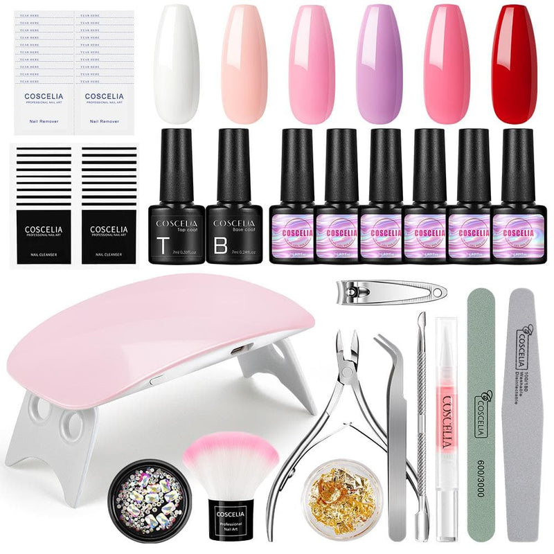 6pc gel polish kit with 6w lamp