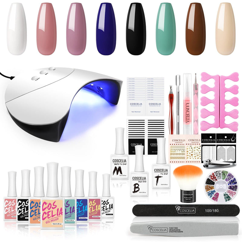 8pc gel polish kit with 36w lamp