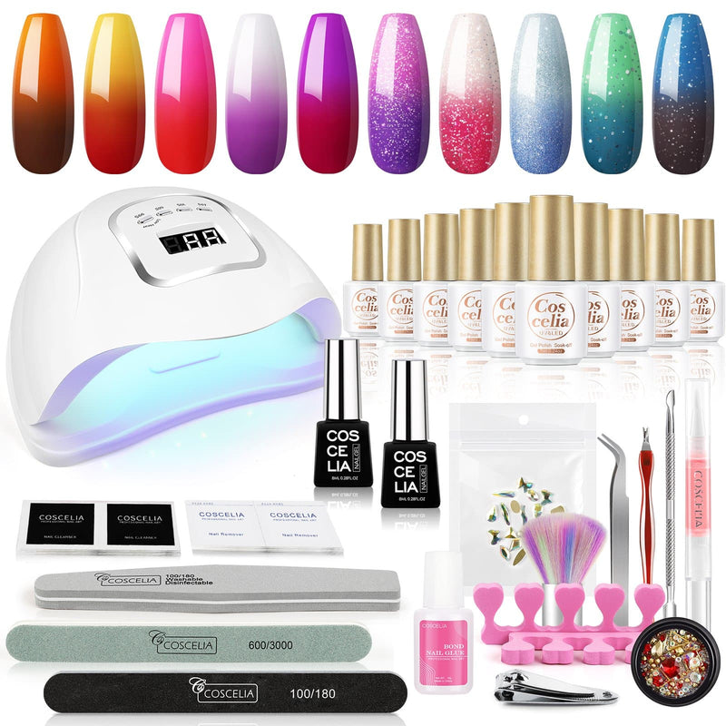 10pc temperature changing gel polish kit with 110w lamp