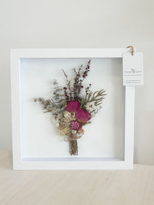 DRIED FLORAL ART - Framed PINK TONES