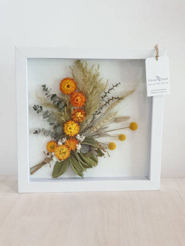 DRIED FLORAL ART - Framed Golden TONES
