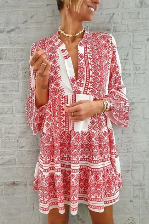 Printed Color Long Sleeve  Cotton Dress