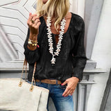 Fashion V Neck  Long Sleeve Blouses