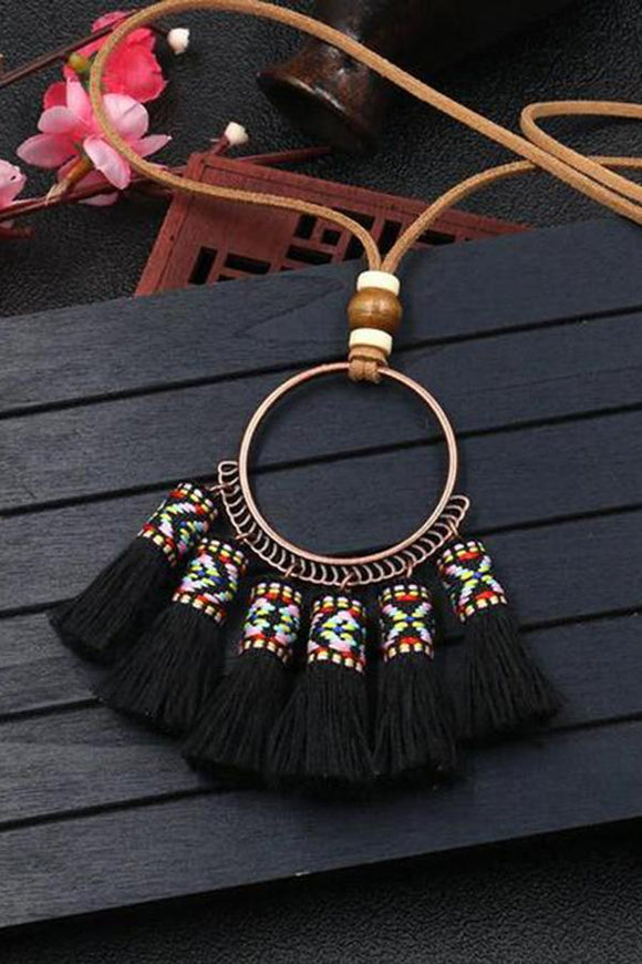 Fringed Woven Pendant Necklace