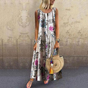 Botanical Jacquard Sleeveless Dresses