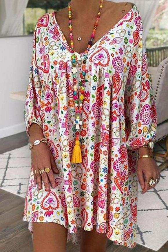 Casual V Neck Printed Colour Loose Dress