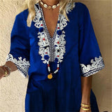 Fashion V-Neck Printed Five-Pointed Sleeve Dresses