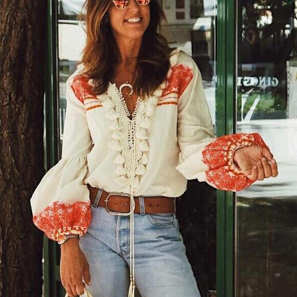 Lantern Sleeves Tied Rope Fringed Top