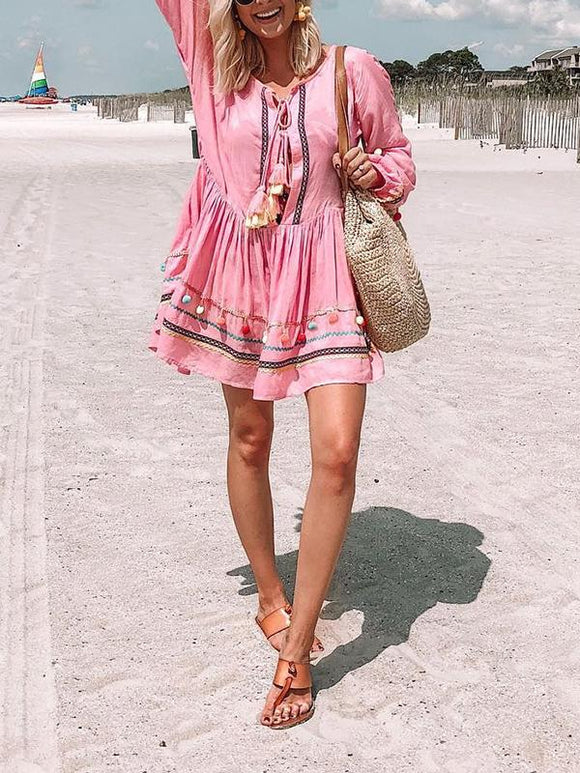 Bohemian Crew Neck Tie Fringed Loose Dress
