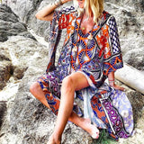 Women's Bohemian Printed Split Dress