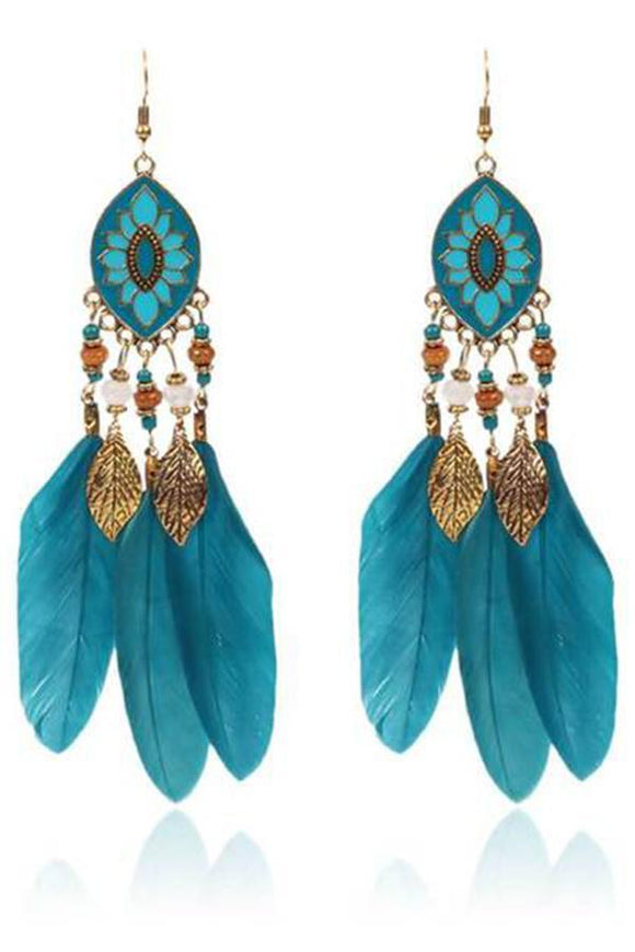 Bohemian   leaf fringed feather earrings