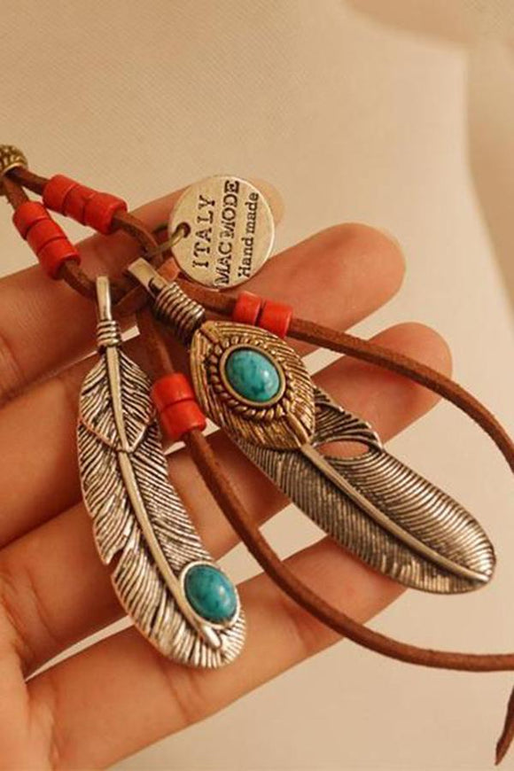 Feathers Leaves Tassels Wood Beads Necklace